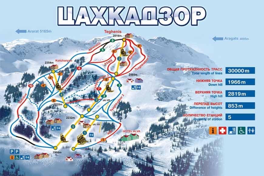 Цахкадзор - схема трасс