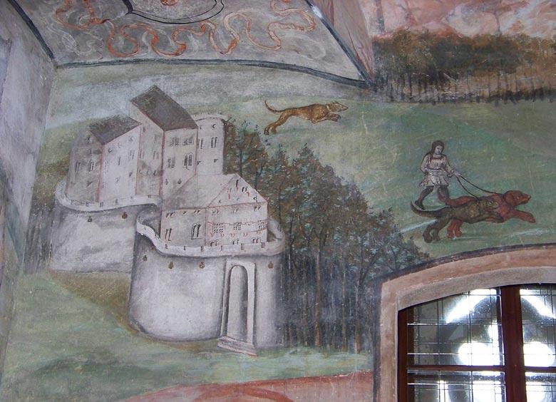 Фреска в зеленой комнате замка Гоуска