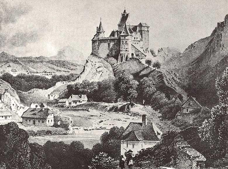 Старинная гравюра замка Дракулы