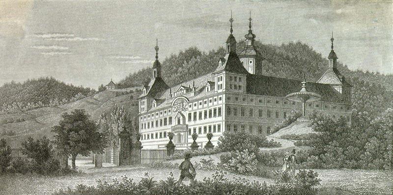 Замок Эггенберг на старинной гравюре